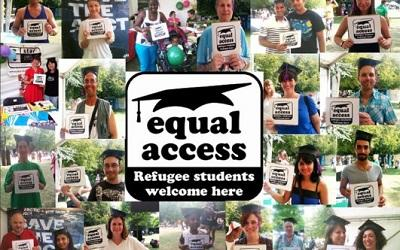 Equal Access logo and photos of members of the public with welcoming signs for refugees