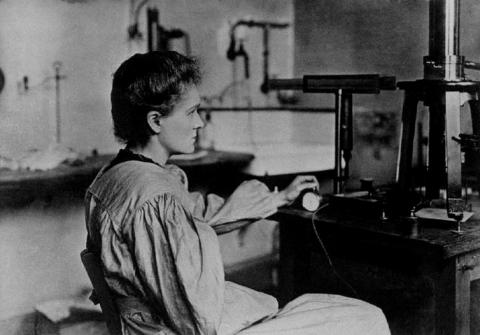 Marie Curie in her laboratory. wikipedia