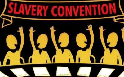 Cartoon image with the text 'slavery convention'