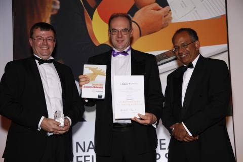 (l-r): Dr Tim Lowe and Dr Tim Hunt receive the Collaborative Teaching Excellence Award from Professor Rama Thirunamachandran, Chair of HEA Board and Vice-Chancellor of Canterbury Christ Church University