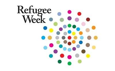 Refugee Week Logo - brightly coloured dots in a circle