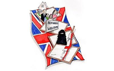 Cartoon saying Refugees Welcome