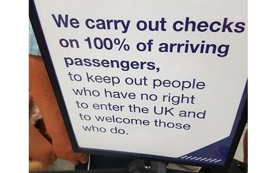 Sign at Gatwick airport all passengers see on arrival