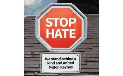 Stop Hate sign in Milton Keynes