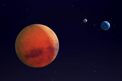 Mars, Earth and the Moon