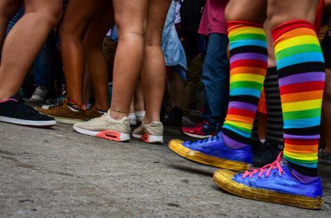 Light rainbow coloured socks