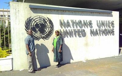 Outside a UN building