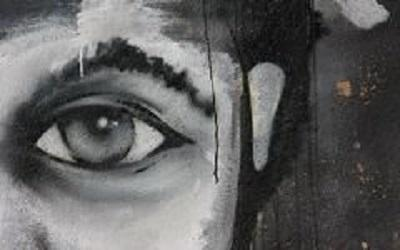 Image of a black and white eye, painted