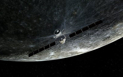 Artist's impression of BepiColombo during a swing-by of Mercury. ESA/ATG medialab