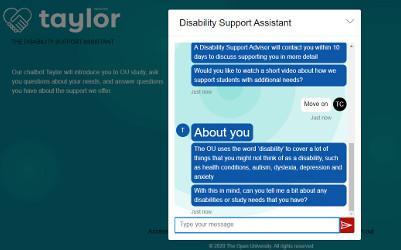 Screenshot of a chatbot