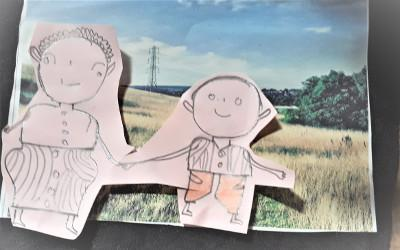 Drawing of two people holding hands with a grassy field background