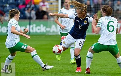 Scotland's Erin Cuthbert in action as the team beat Ireland on July 7.