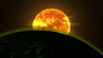An exoplanet and its atmosphere pass in front of its star (artist's impression, from an imaginary point near to the planet). NASA Goddard Space Flight Center