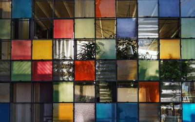 Blocks of multicoloured glass windows