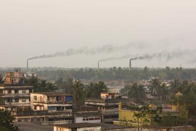 Smoke from brick factories in Bangladesh
