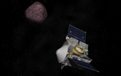 Artist depiction of the OSIRIS REx space probe on it's mission to retrieve a sample from the asteroid Bennu.