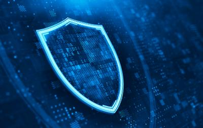 Digital Shield on abstract technology background