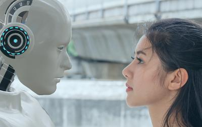 Robot and girl's faces