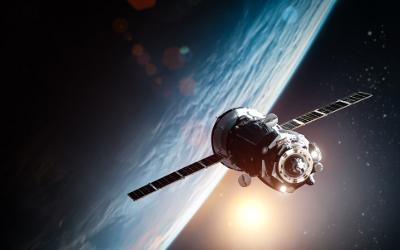Space ship orbiting earth