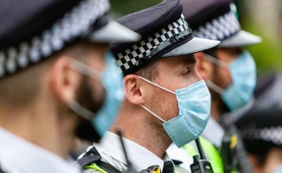 Policeman wearing face masks