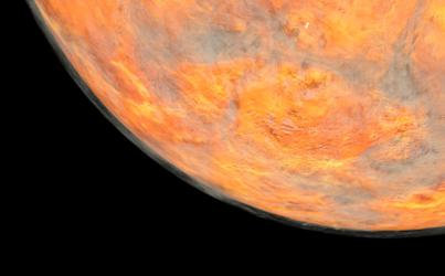 Planet Venus with visible clouds or gas shown from Space