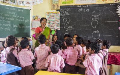 Indian classroom with children and teacher