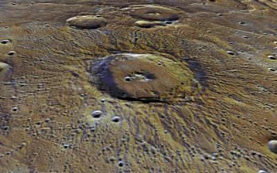 Synthetic oblique view across Stieglitz crater (100 km diameter) on Mercury. Image credit  NASA/Johns Hopkins University Applied Physics Laboratory/Carnegie Institution