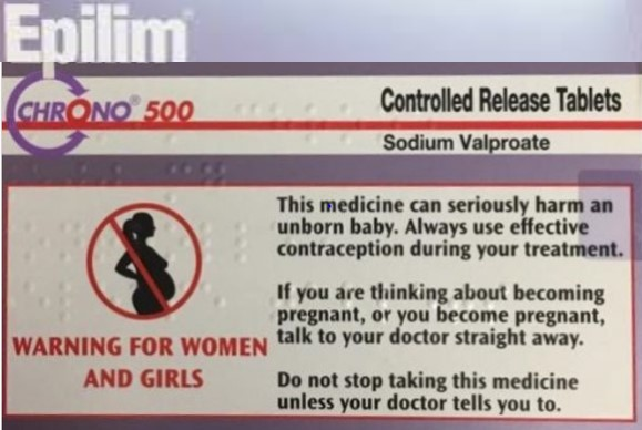 A visual warning of the pregnancy risks (in the form of text) with other warning symbol on the outer carton