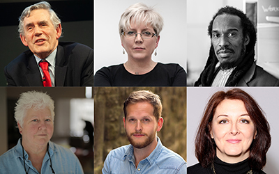 Gordon Brown, Carrie Gracie, Benjamin Zephaniah, Val McDermid, Daniel Shand, Catherine Simpson