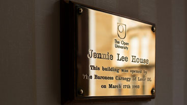 Jennie Lee House, brass plaque