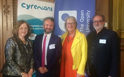 Dame Susan Rice, Tom Freeman, Susan Stewart and Ewan Aitken at an OU in Scotland and Cyrenians event, May 2019