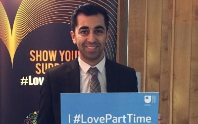 Humza Yousaf MSP with 'I #LovePartTime' sign