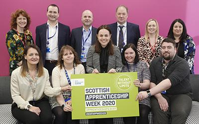 Finance Secretary Kate Forbes with Capgemini apprentices, and Capgemini and Open University teams