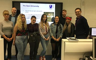 Students on the OU Choices programme with Steve McGeever, OU (second left) and David Smout, Dundee and Angus College (pictured far right)