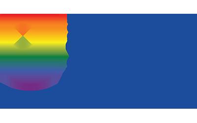 OU in Scotland 50th logo, incorporating Pride rainbow colours