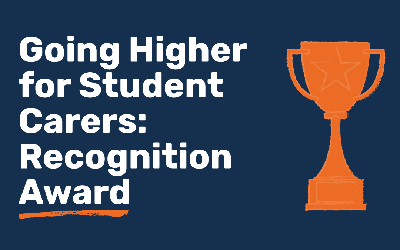Going Higher for Student Carers: Recognition Award and trophy graphic