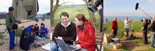 Teams of academics being filmed and recorded on location
