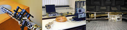 Acoustics equipment being used to monitor musical instruments and their enviroment