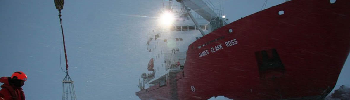 Research Ship James Clark Ross unloading equipment at the Antarctic
