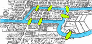 Combinatorics image showing waterways on a drawing of a town