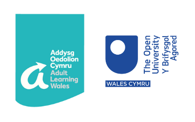 Adult Learning Wales and Open University in Wales logos