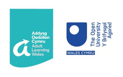 Logos Addysg Oedolion yng Nghymru a'r Brifysgol Agored yng Nghymru