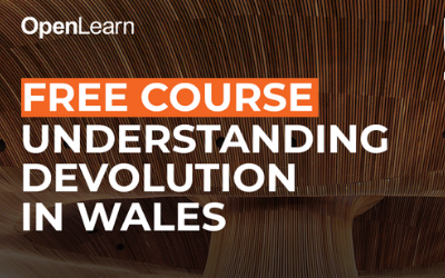 Understanding devolution in Wales course logo and photograph of the inside of the Senedd building